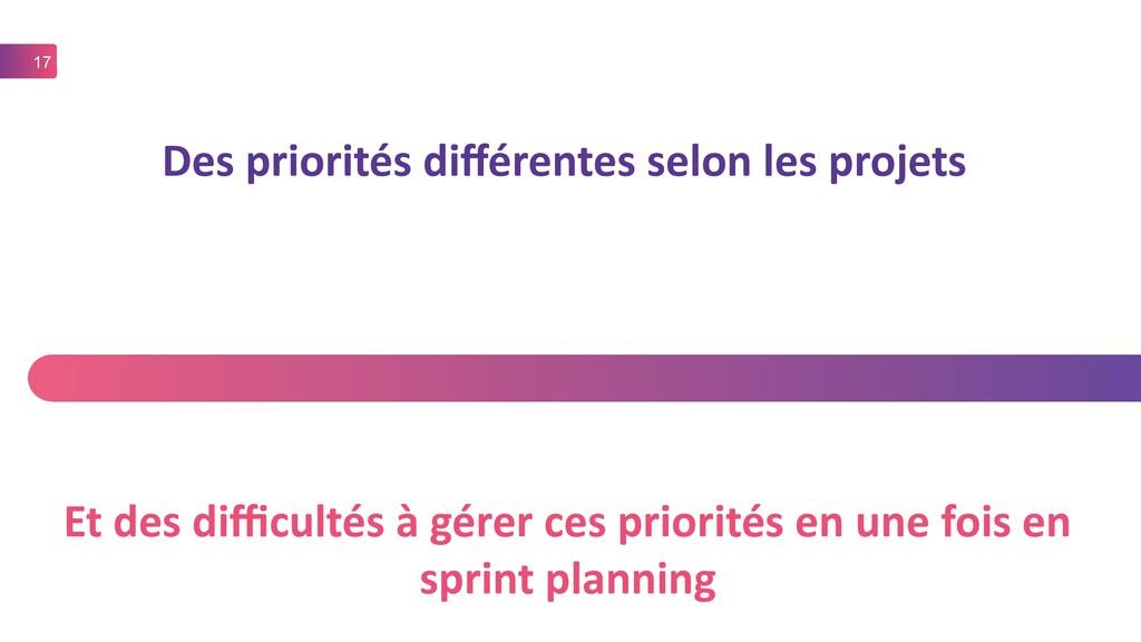 17 Des priorités différentes selon les projets ...
