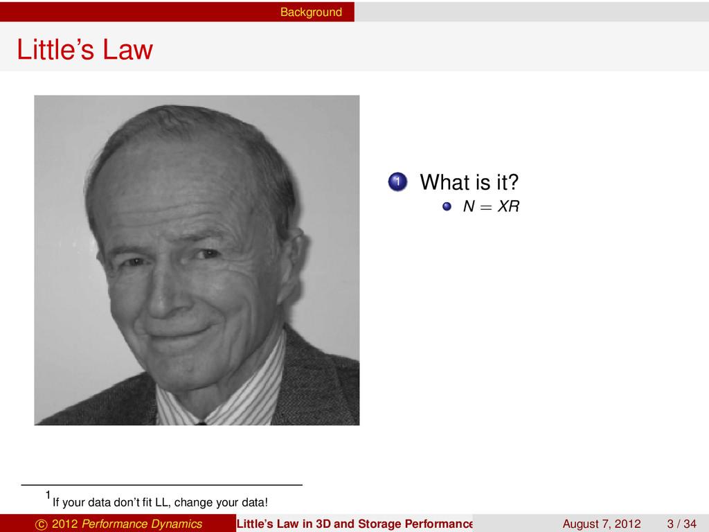 Background Little's Law 1 What is it? N = XR 1 ...