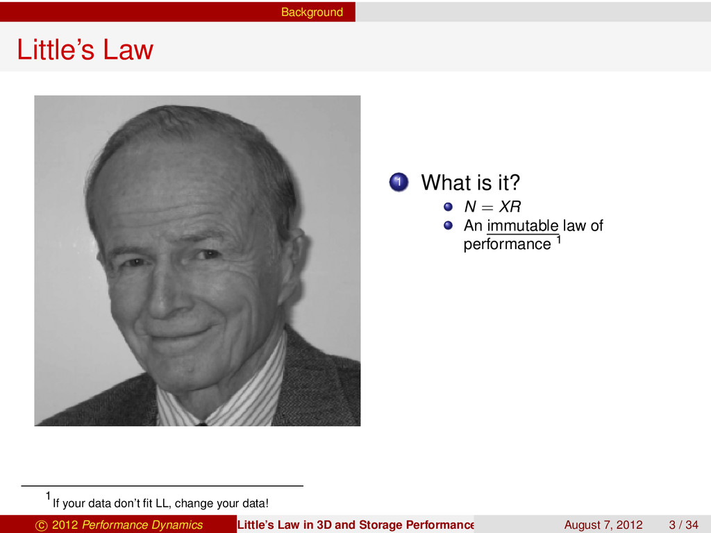 Background Little's Law 1 What is it? N = XR An...