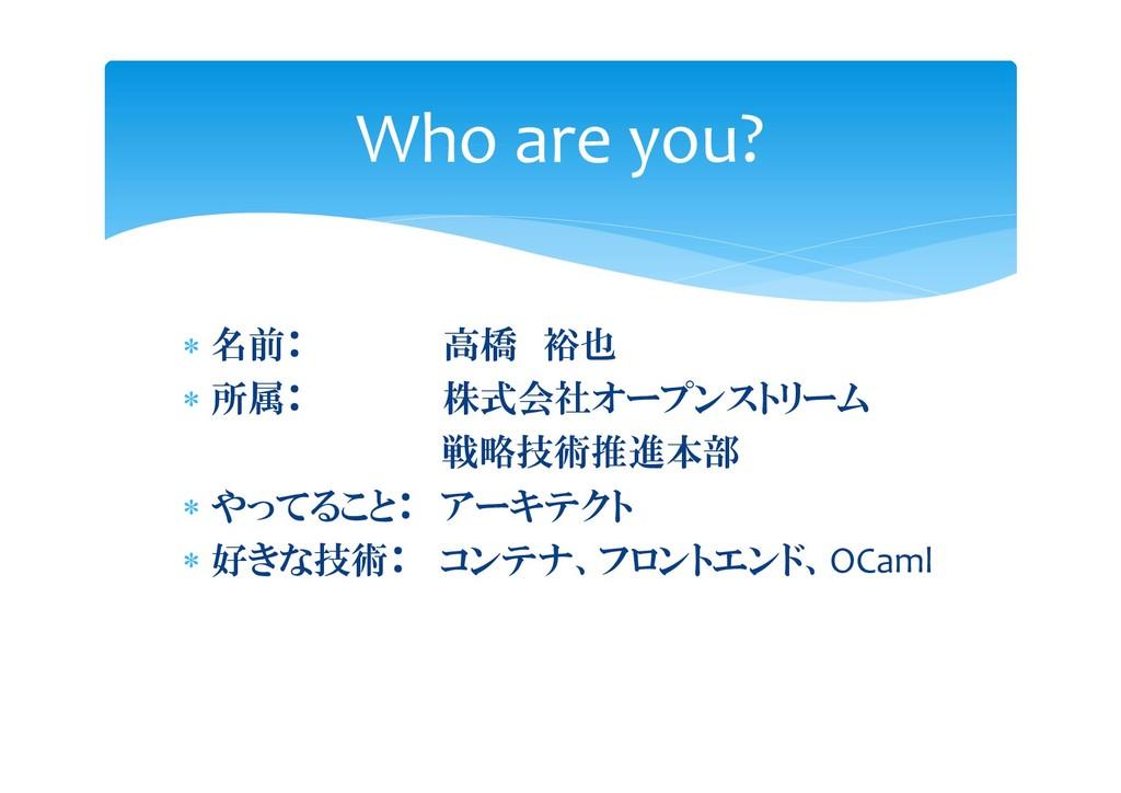  名前: 高橋 裕也  所属: 株式会社オープンストリーム 戦略技術推進本部  やってる...