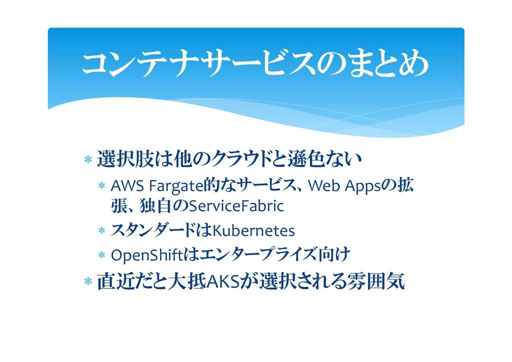  選択肢は他のクラウドと遜色ない  AWS Fargate的なサービス、Web Appsの...