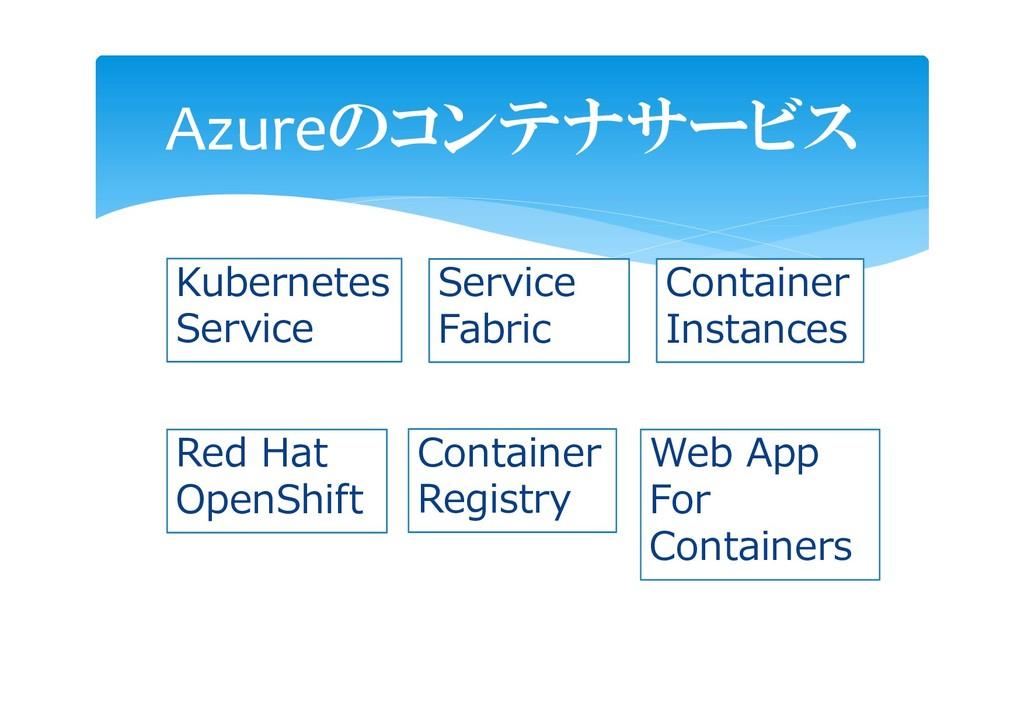 Azureのコンテナサービス Kubernetes Service Service Fabri...