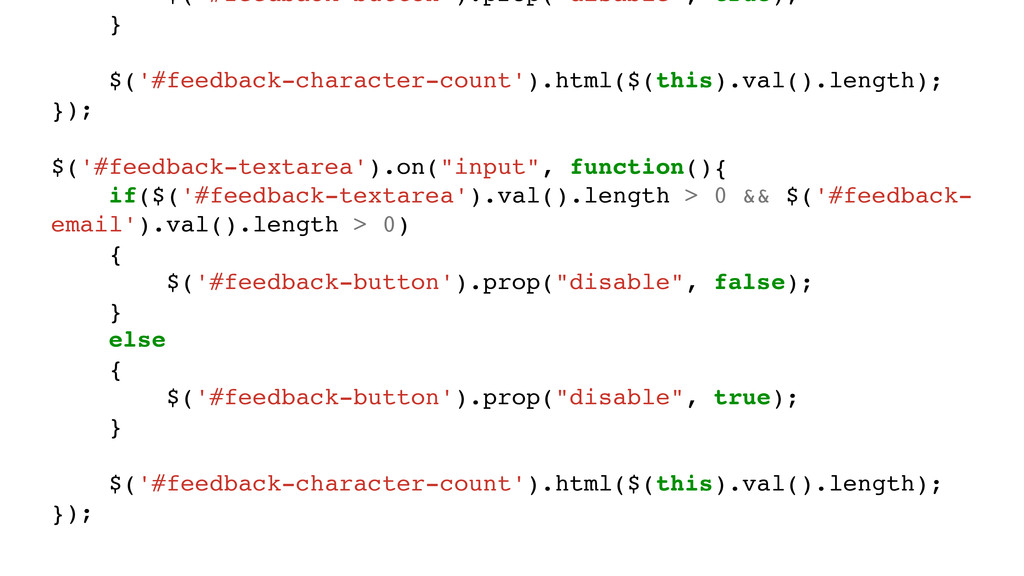 """$('#feedback-button').prop(""""disable"""", true); } ..."""