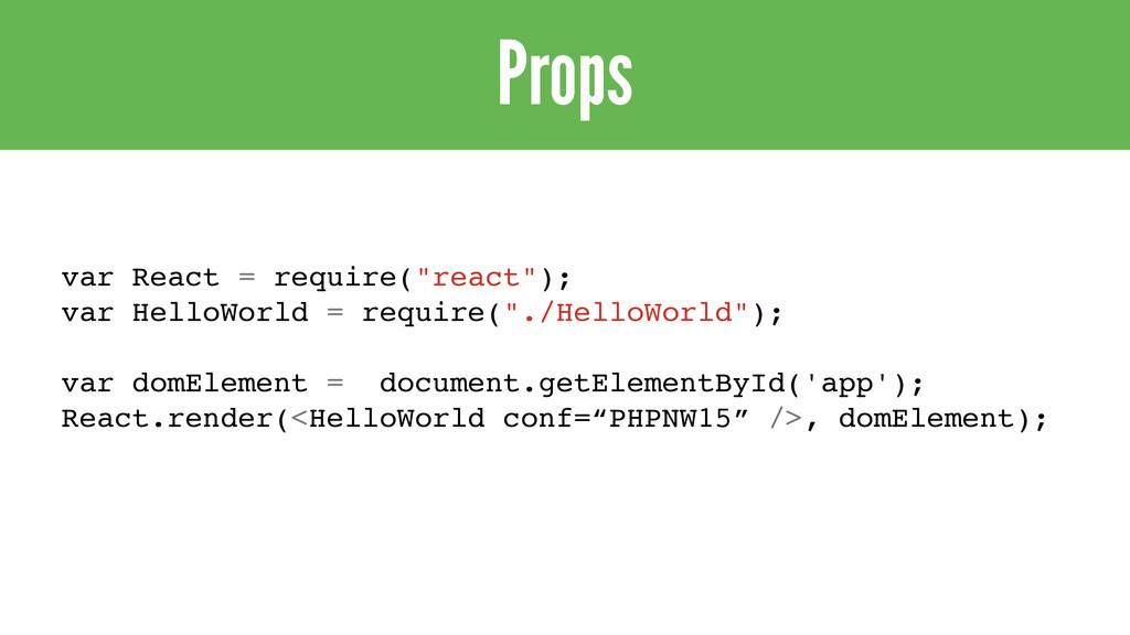 """Props var React = require(""""react""""); var HelloWo..."""