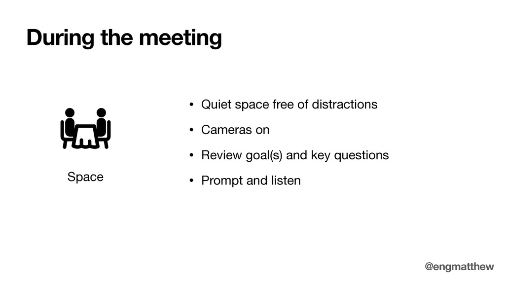 During the meeting Space • Quiet space free of ...
