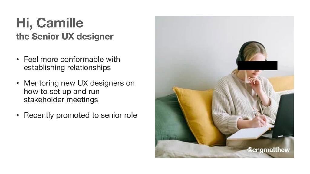 the Senior UX designer • Feel more conformable ...