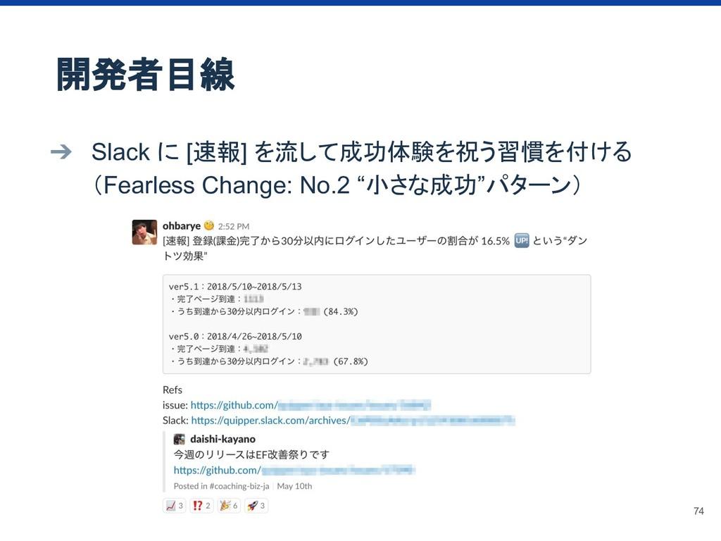 ➔ Slack に [速報] を流して成功体験を祝う習慣を付ける (Fearless Chan...