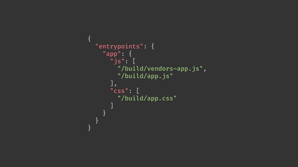 """{ """"entrypoints"""": { """"app"""": { """"js"""": [ """"/build/ven..."""