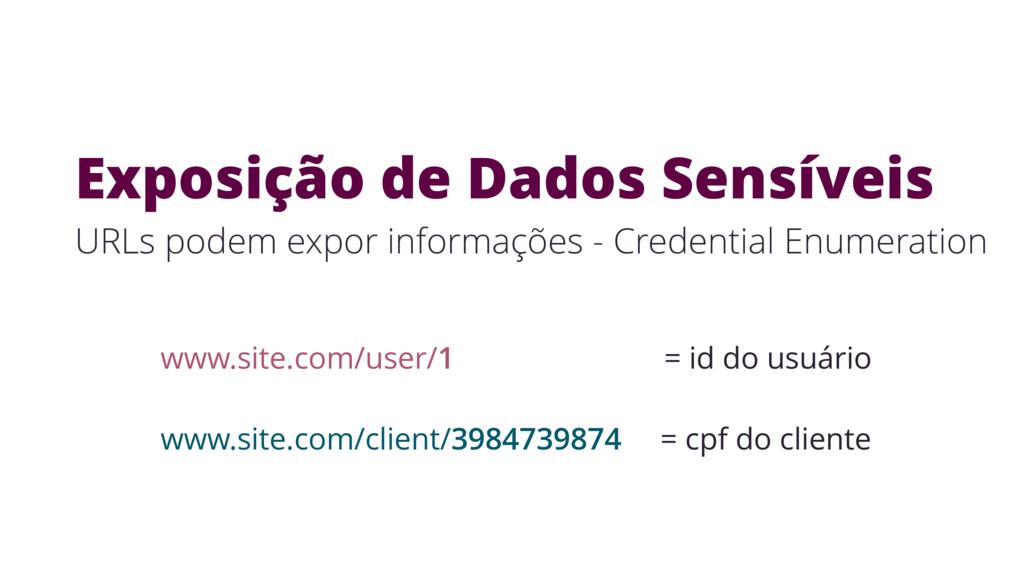 Exposição de Dados Sensíveis URLs podem expor i...