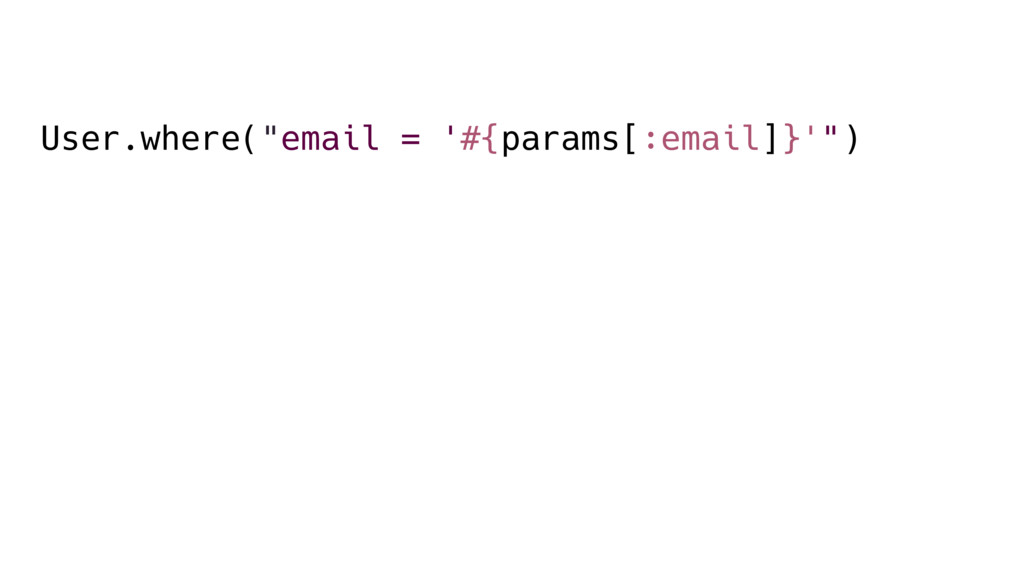 """User.where(""""email = '#{params[:email]}'"""")"""