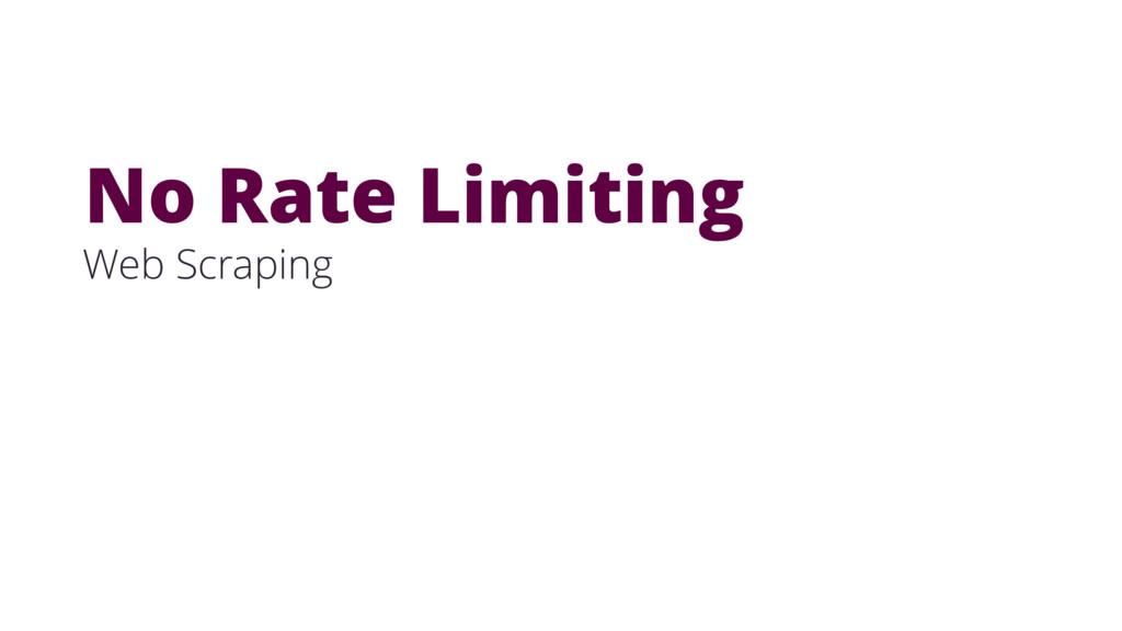 Web Scraping No Rate Limiting