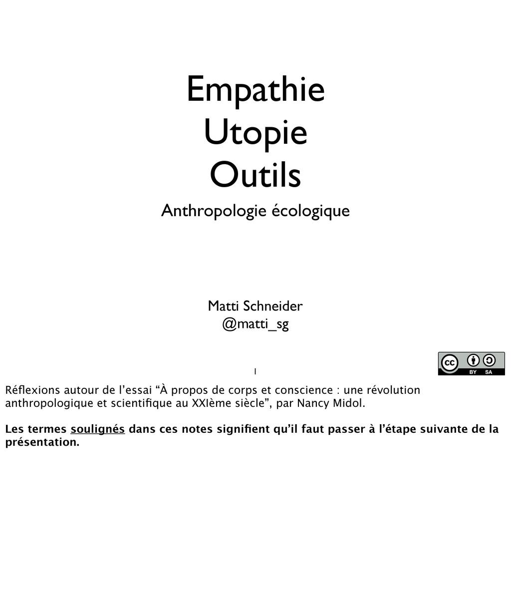 Empathie Utopie Outils Anthropologie écologique...