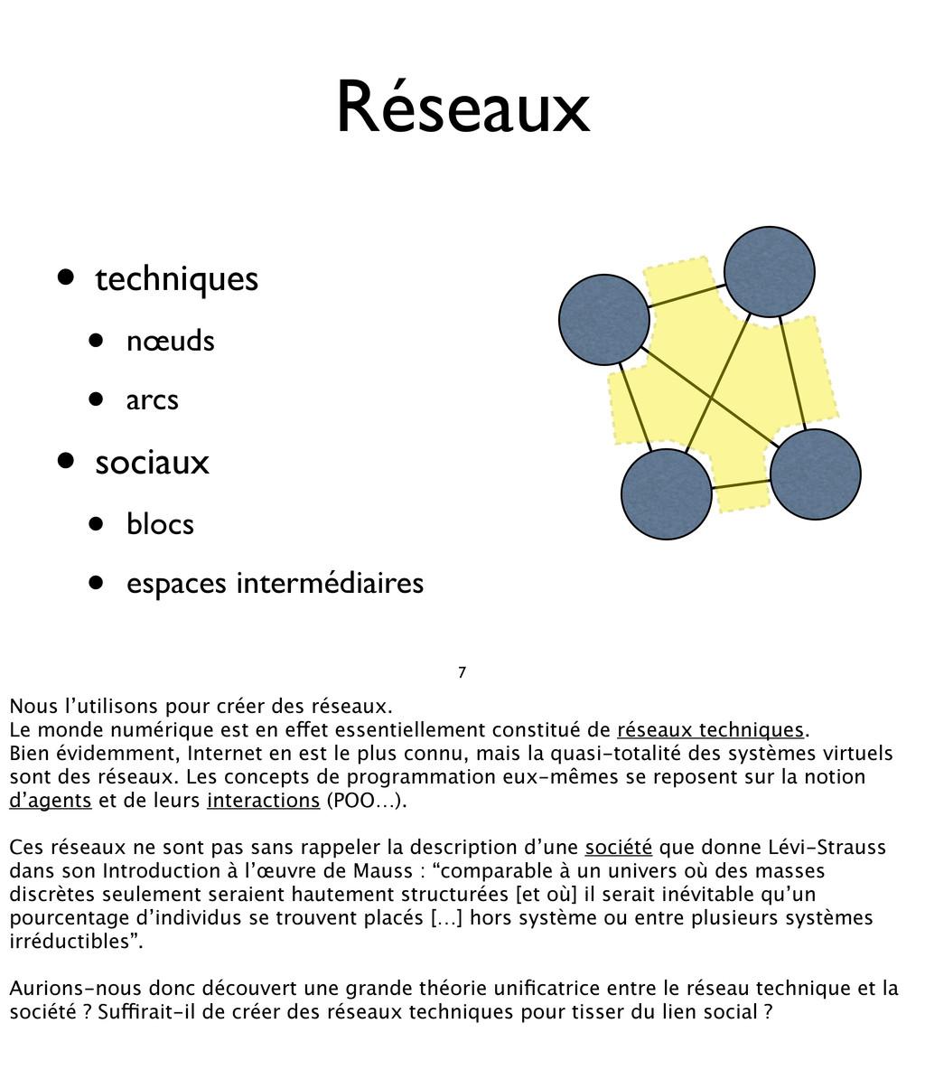 Réseaux • techniques • nœuds • arcs • sociaux •...