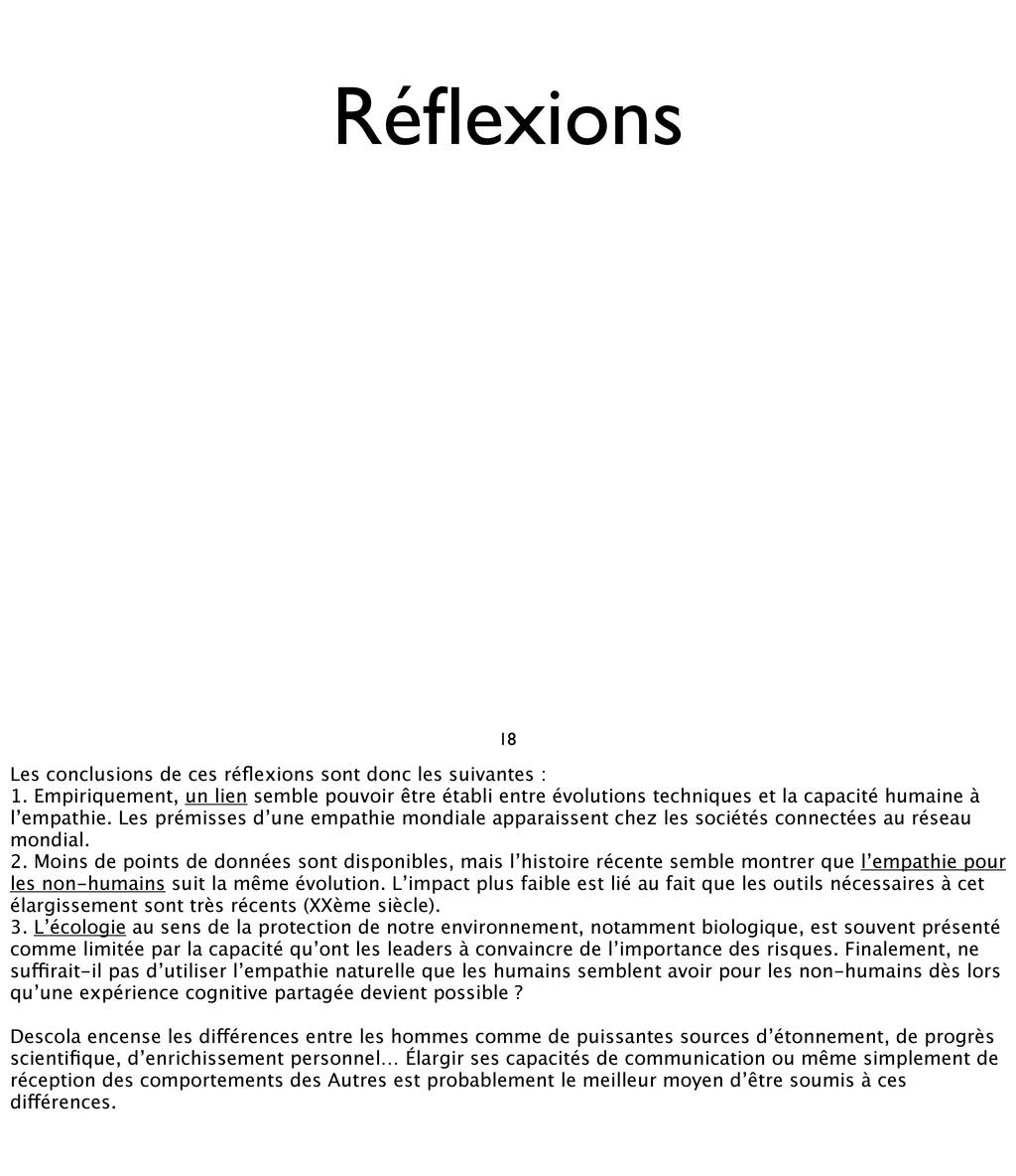 Réflexions 18 Les conclusions de ces réflexions s...