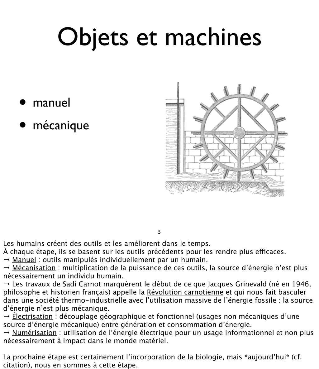 • manuel • mécanique Objets et machines 5 Les h...