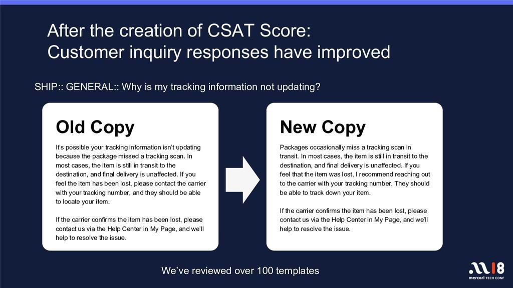 After the creation of CSAT Score: Customer inqu...
