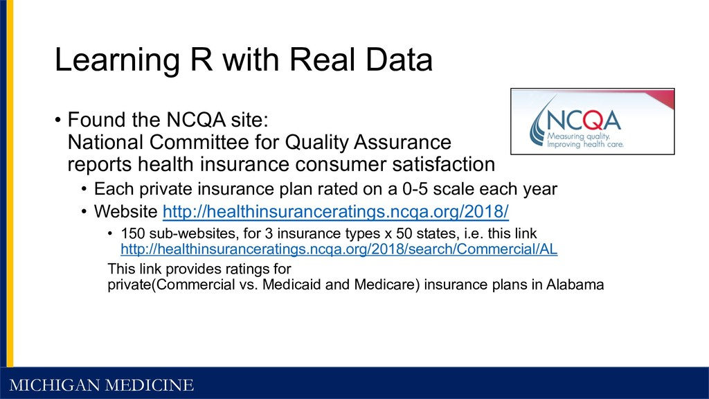 MICHIGAN MEDICINE Learning R with Real Data • F...
