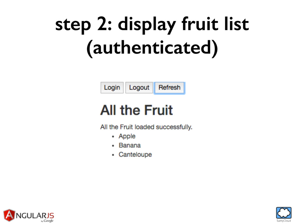 SunnyCloud step 2: display fruit list