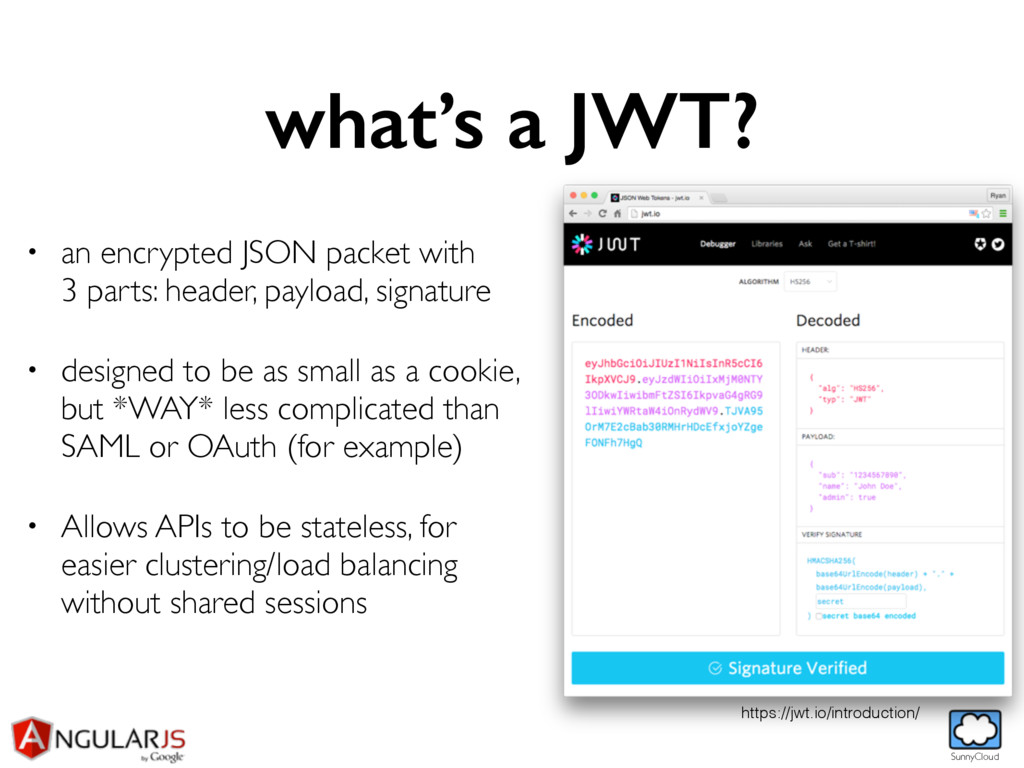 SunnyCloud what's a JWT? • an encrypted JSON pa...