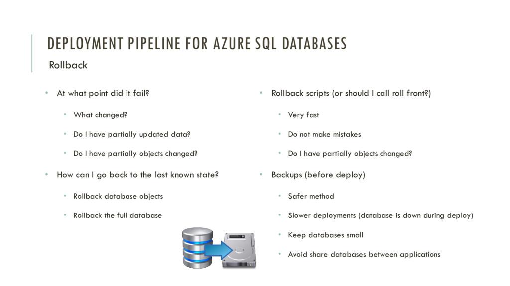 DEPLOYMENT PIPELINE FOR AZURE SQL DATABASES Rol...