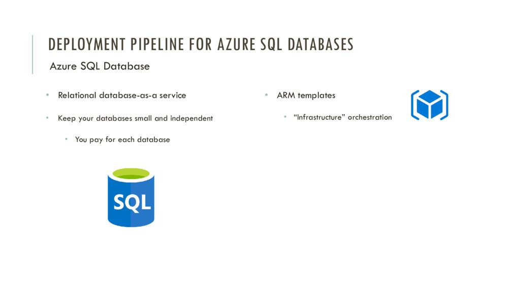 DEPLOYMENT PIPELINE FOR AZURE SQL DATABASES Azu...