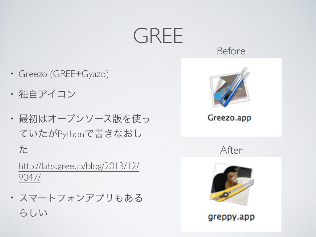 GREE • Greezo (GREE+Gyazo) • ಠࣗΞΠίϯ • ࠷ॳΦʔϓϯιʔ...
