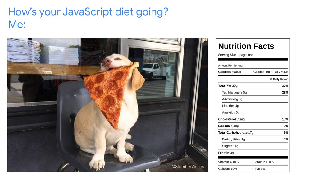 How's your JavaScript diet going? Me: @StumberV...