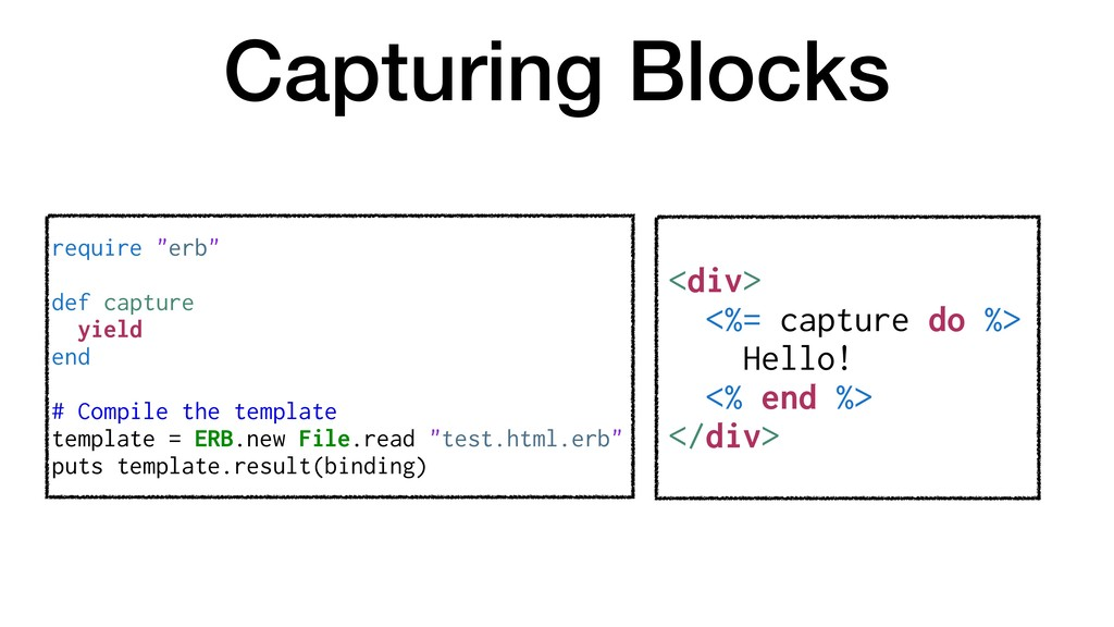 Capturing Blocks <div> <%= capture do %> Hello!...