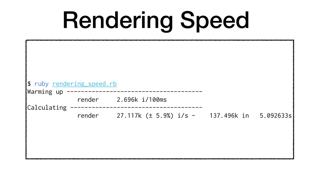 Rendering Speed $ ruby rendering_speed.rb Warmi...