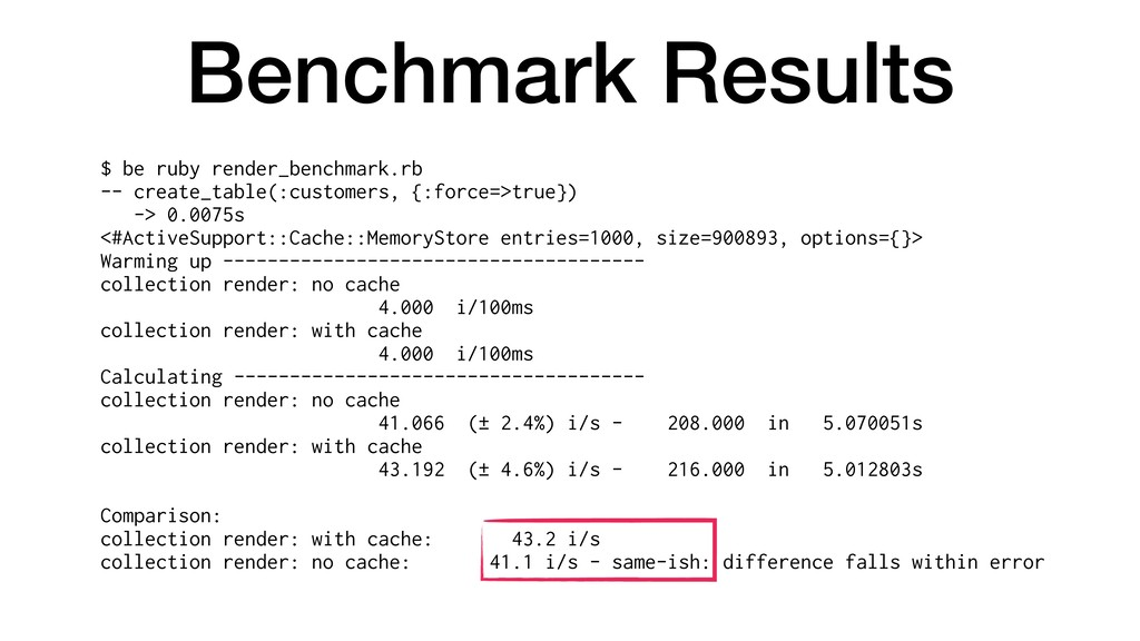 Benchmark Results $ be ruby render_benchmark.rb...