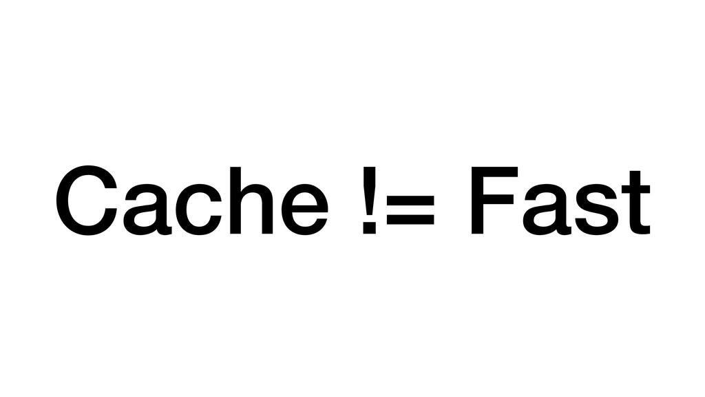 Cache != Fast