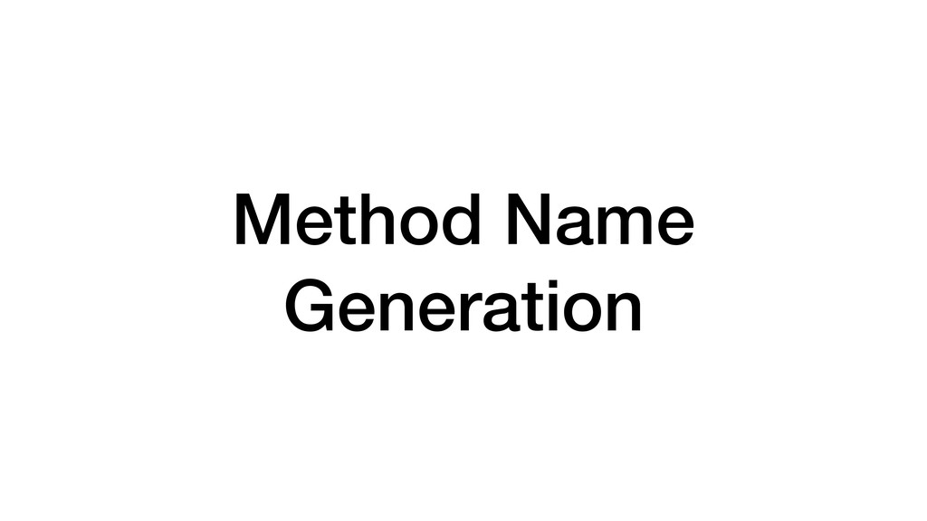 Method Name Generation