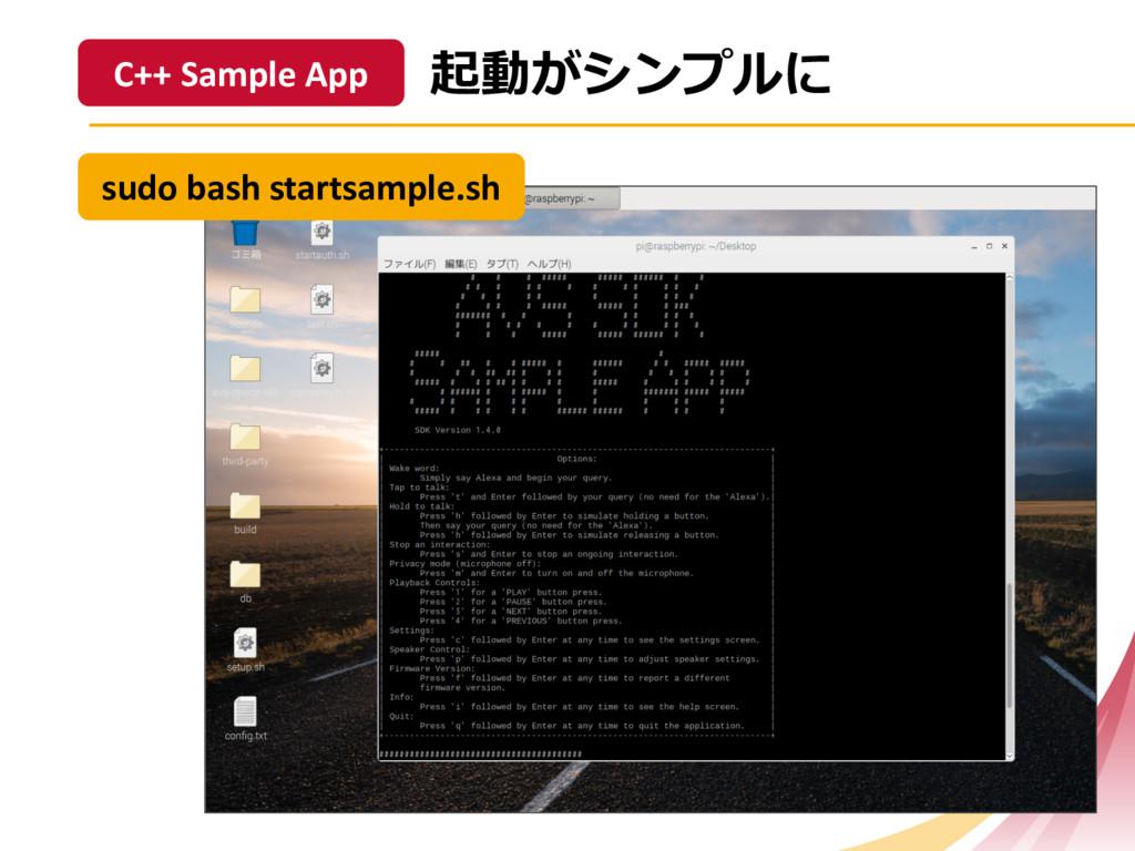 sudo bash startsample.sh C++ Sample App