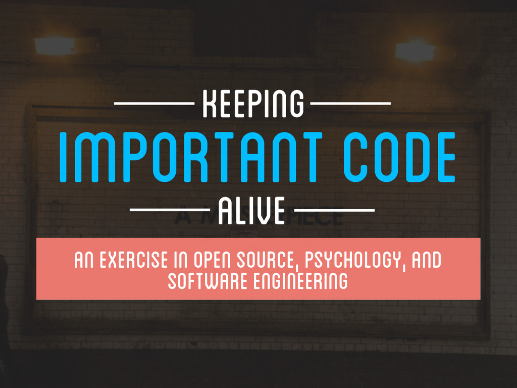 IMPORTANT CODE ALIVE Keeping An EXercise in O...