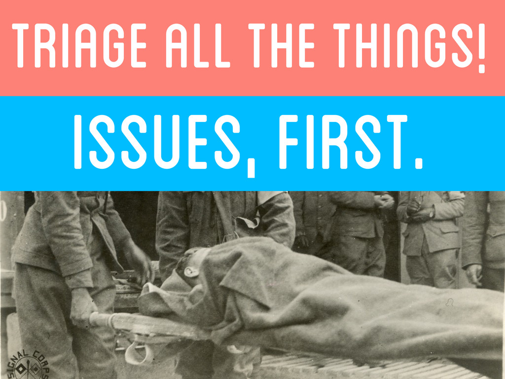 ISSUES, FIRST.  TRIAGE ALL THE THINGS!