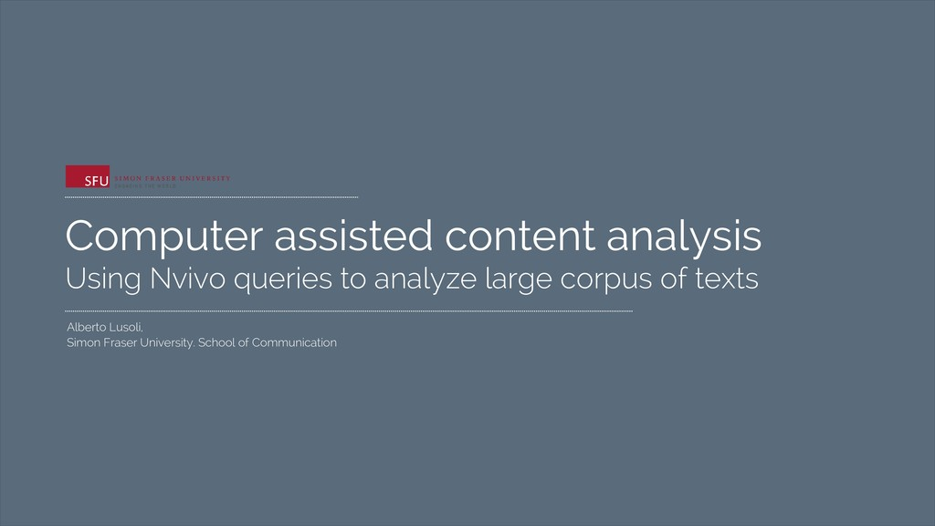 Computer assisted content analysis Using Nvivo ...
