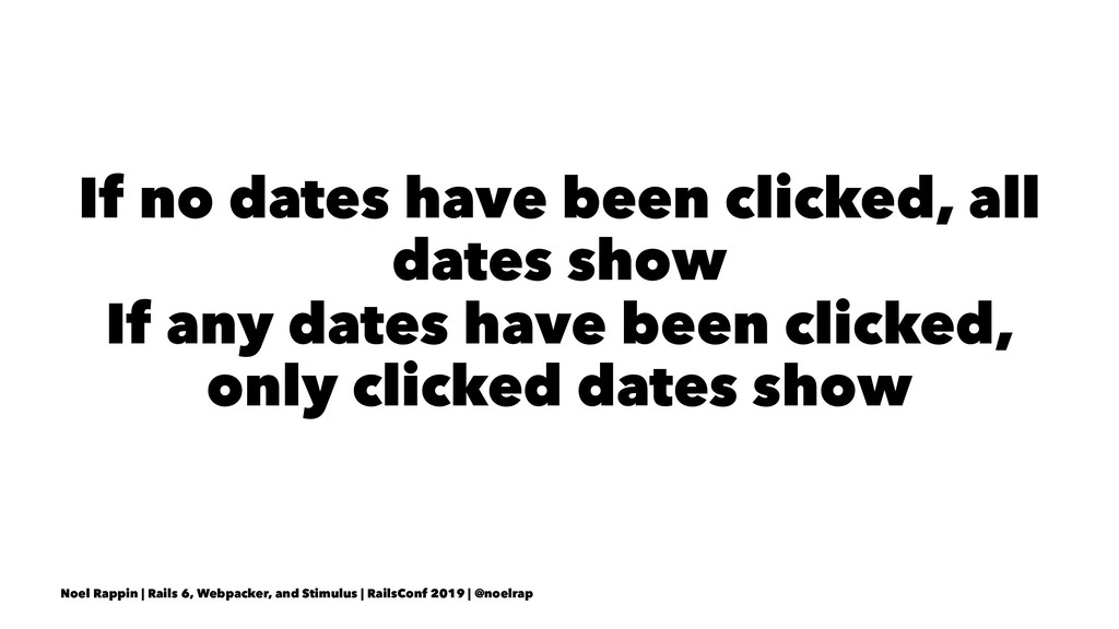 If no dates have been clicked, all dates show I...