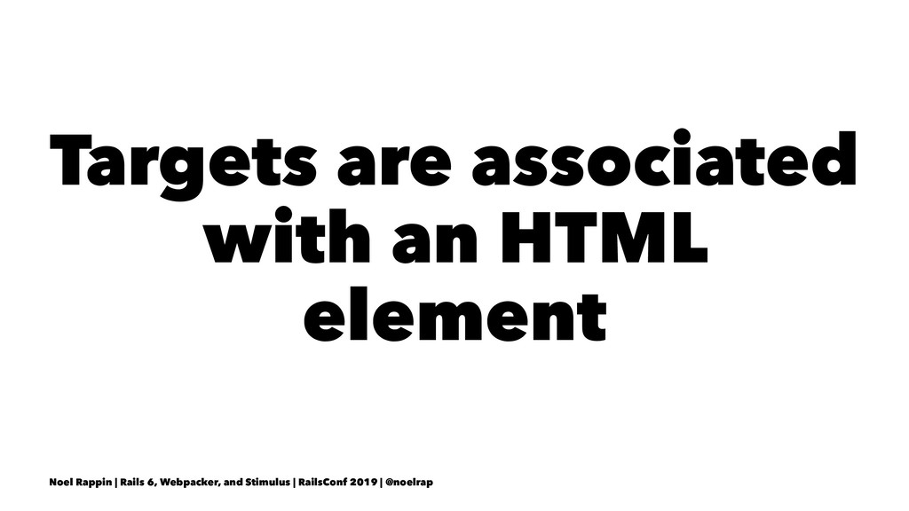 Targets are associated with an HTML element Noe...