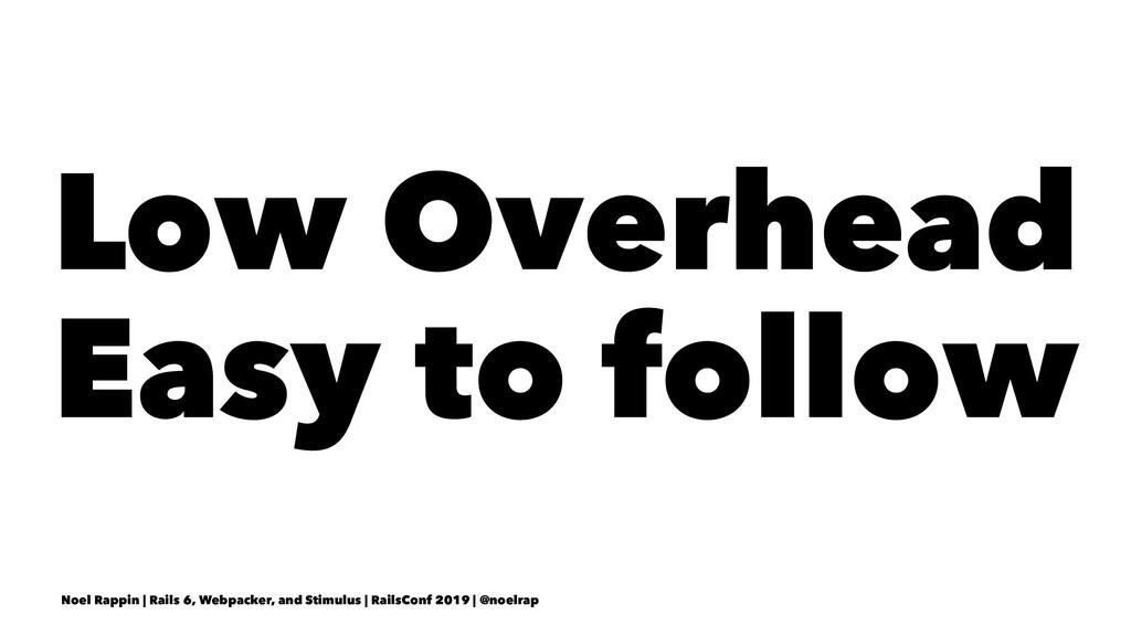 Low Overhead Easy to follow Noel Rappin | Rails...