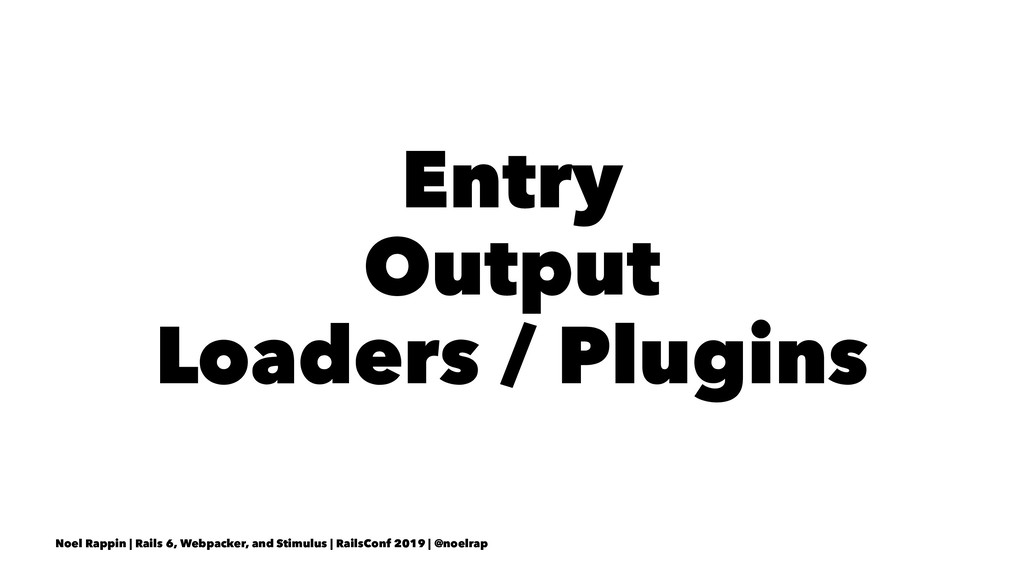 Entry Output Loaders / Plugins Noel Rappin | Ra...