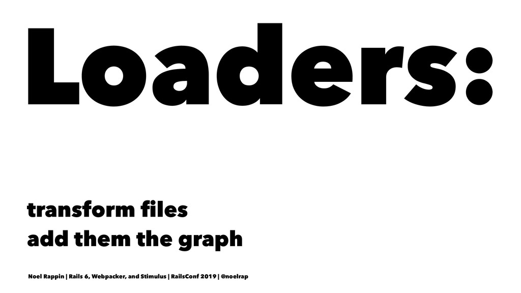 Loaders: transform files add them the graph Noel...