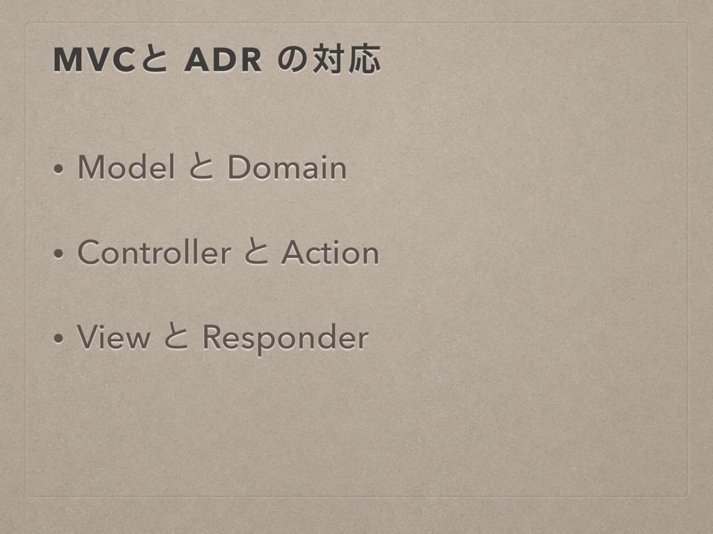 MVCͱ ADR ͷରԠ • Model ͱ Domain • Controller ͱ Ac...