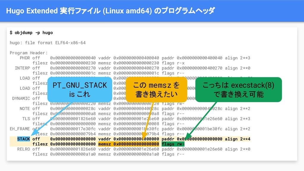 Hugo Extended 実行ファイル (Linux amd64) のプログラムヘッダ $ ...