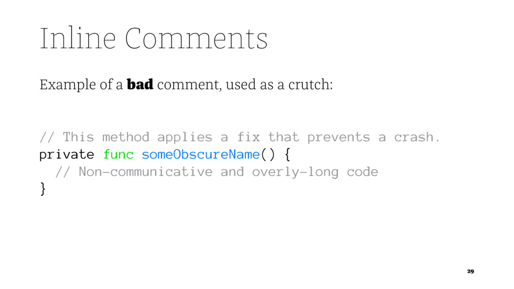 Inline Comments Example of a bad comment, used ...