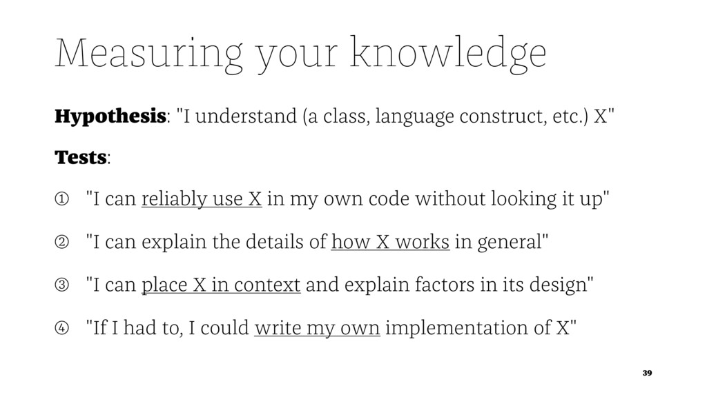 """Measuring your knowledge Hypothesis: """"I underst..."""
