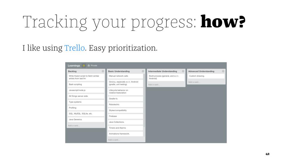 Tracking your progress: how? I like using Trell...