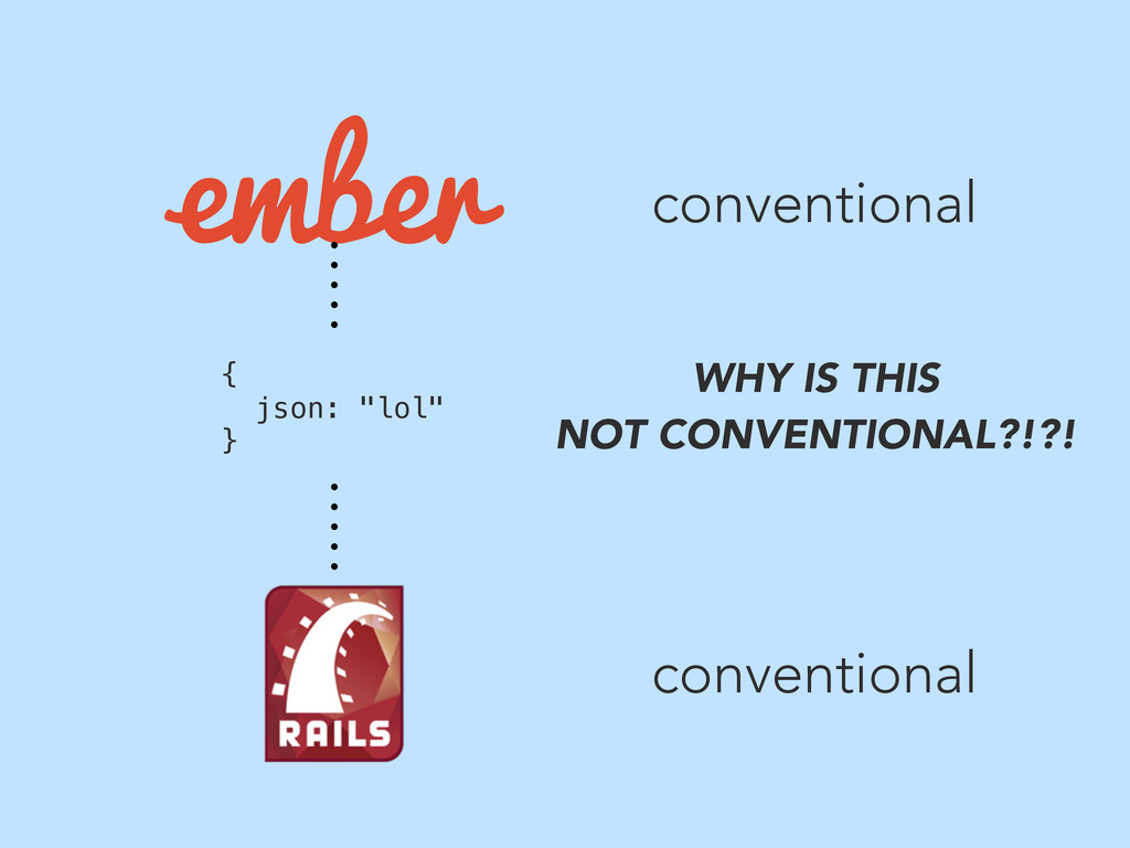 """conventional conventional { json: """"lol"""" } WHY I..."""