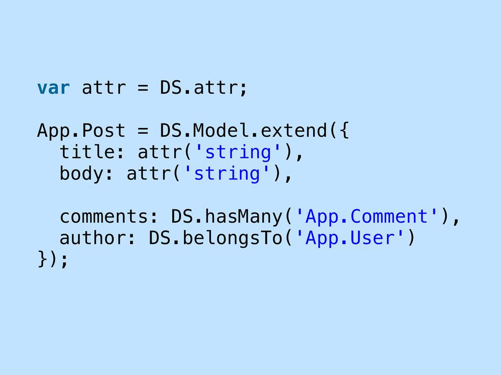 var attr = DS.attr; App.Post = DS.Model.extend(...
