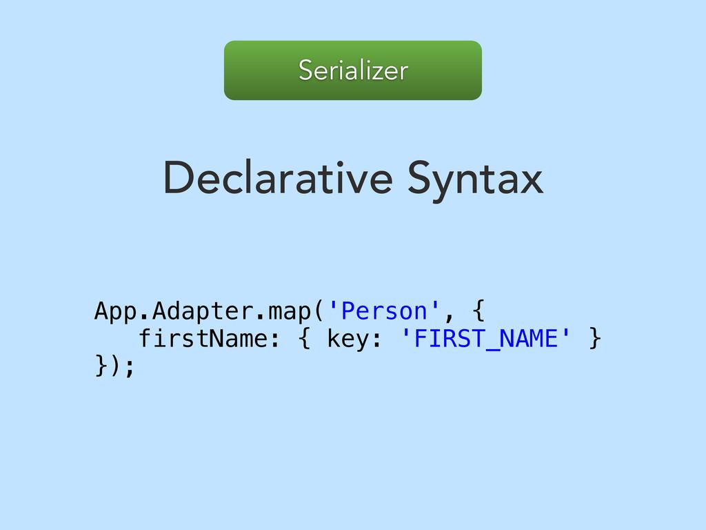 Serializer Declarative Syntax App.Adapter.map('...