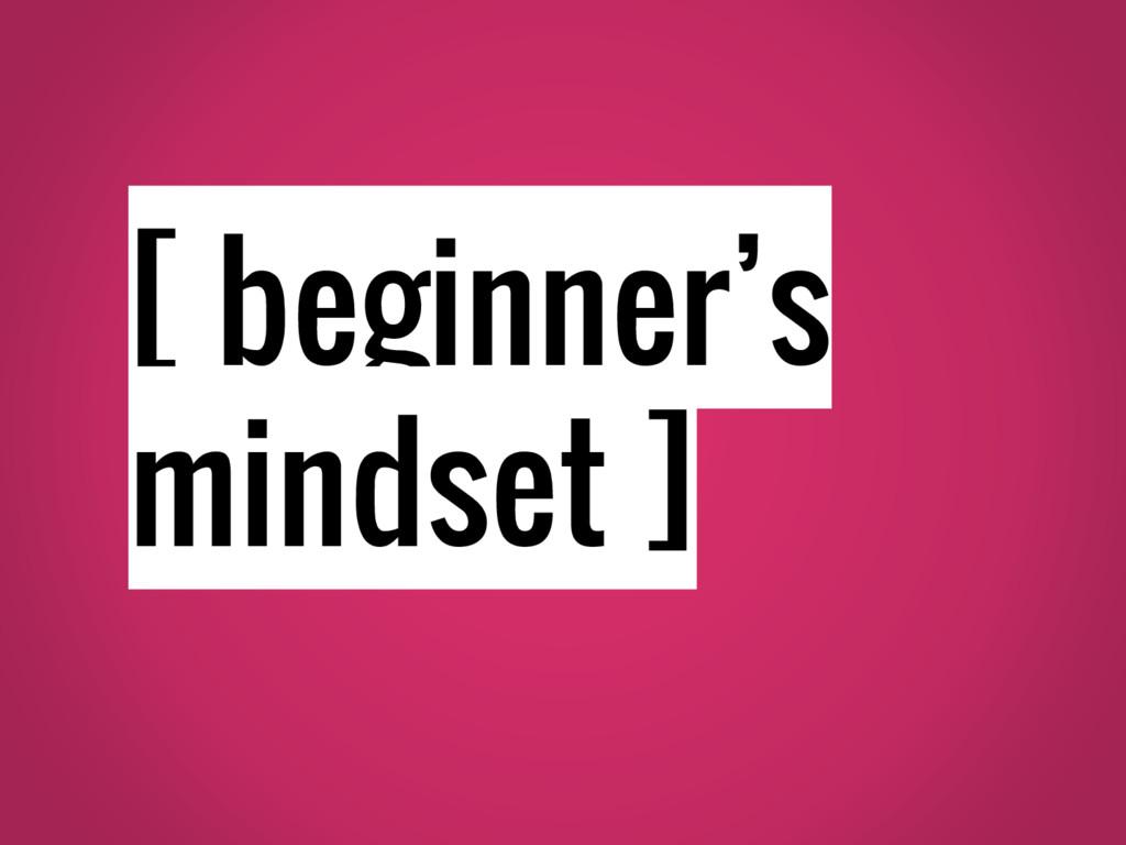 [ beginner's mindset ]